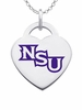 Northwestern State Demons Logo Heart Pendant With Color