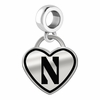 Northwestern Wildcats Border Heart Dangle Charm