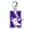Northwestern Wildcats Silver Logo and School Color Drop Charm