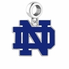 Notre Dame Fighting Irish Silver Logo and School Color Drop Charm