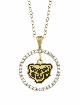 Oakland Golden Grizzlies Gold and Diamond Circle Pendant