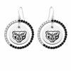 Oakland Grizzlies Black and White CZ Circle Earrings