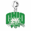 Ohio Bobcats Silver Logo and School Color Drop Charm