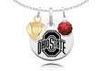 Ohio State Buckeyes Necklace with Heart and Crystal Accents