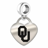 Oklahoma Engraved Heart Dangle Charm