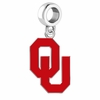 Oklahoma Sooners Silver Logo and School Color Drop Charm