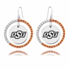 Oklahoma State Cowboys Color CZ Circle Earrings
