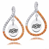 Oklahoma State Cowboys Colored CZ Figure 8 Earrings