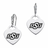 Oklahoma State Cowboys CZ Cluster Heart Earrings