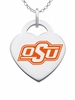 Oklahoma State Cowboys Logo Heart Pendant With Color