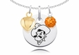 Oklahoma State Cowboys Necklace with Heart and Crystal Accents