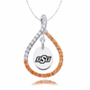 Oklahoma State Cowboys Orange CZ Figure 8 Necklace
