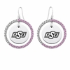Oklahoma State Cowboys Pink CZ Circle Earrings