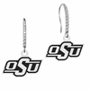 Oklahoma State Cowboys Sterling and CZ Logo Drop Earrings