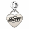 Oklahoma State Engraved Heart Dangle Charm