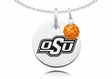 Oklahoma State Necklace with Crystal Ball Accent