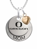 Oregon Ducks MOM Necklace with Heart Charm