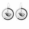 Oregon State Beavers Black and White CZ Circle Earrings