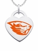 Oregon State Beavers Logo Heart Pendant With Color