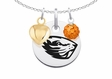 Oregon State Beavers Necklace with Heart and Crystal Accents