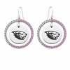 Oregon State Beavers Pink CZ Circle Earrings