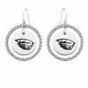 Oregon State Beavers  White CZ Circle Earrings