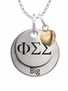 Phi Sigma Sigma BIG Necklace with Heart Accent