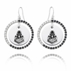 Purdue Boilermakers Black and White CZ Circle Earrings