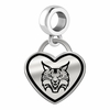 Quinnipiac Bobcats Border Heart Dangle Charm