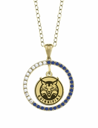 Quinnipiac Bobcats Sapphire and Diamond Necklace