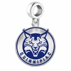 Quinnipiac Bobcats Silver Logo and School Color Drop Charm