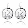Rutgers Scarlet Knights Black and White CZ Circle Earrings