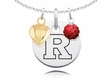 Rutgers Scarlet Knights Necklace with Heart and Crystal Accents