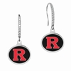 Rutgers Scarlet Knights Sterling Silver and CZ Drop Earrings