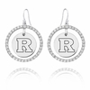 Rutgers Scarlet Knights  White CZ Circle Earrings