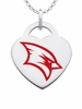 Saginaw Valley State Cardinals Logo Heart Pendant With Color