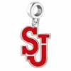 Saint Johns Red Storm Silver Logo and School Color Drop Charm