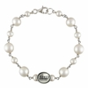 Salem State Vikings Oval Tin Cup Cultured Freshwater Pearl Bracelet