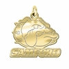 Samford Bulldogs 14K Yellow Gold Natural Finish Cut Out Logo Charm