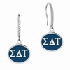 Sigma Delta Tau Sterling Silver and CZ Drop Earrings