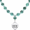 Sigma Sigma Sigma Heart and Turquoise Necklace