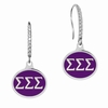 Sigma Sigma Sigma Sterling Silver and CZ Drop Earrings