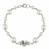 Sorority Heart Tin Cup Pearl Bracelet