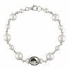 Sorority Oval Tin Cup Cultured Freshwater Pearl Bracelets