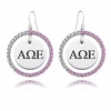 Sorority Pink CZ Circle Style Earrings