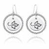 Sorority White CZ Circle Style Earrings