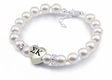Sorority White Pearl Heart Bracelet