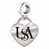 South Alabama Engraved Heart Dangle Charm