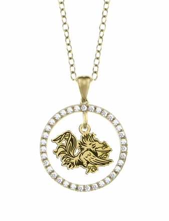 South Carolina Gamecocks Gold and Diamond Circle Pendant