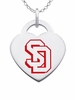 South Dakota Coyotes Logo Heart Pendant With Color